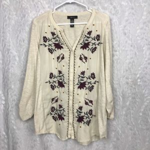 Style & Co cream embroidered floral boho top XL